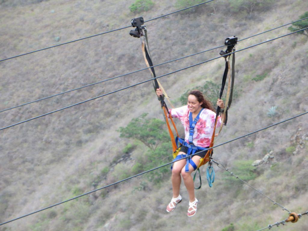 038-21 Panachi Nationalpark - Auf der Zipline. Wer nicht rechtzeitig bremst, knallt mit voller Wucht in eine Auffangmatte