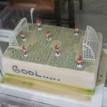 Fussball ist überall in Lateinamerika wichtig. Hier eine Tore im Schaufenster einer Bäckerei. Kostenpunkt rund 40 Euro.